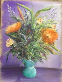 Flowers in a Blue Vase Pastel by Jeanne Cotter