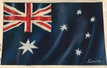Australia Flag with soft pastels at Delicious Art Brisbane