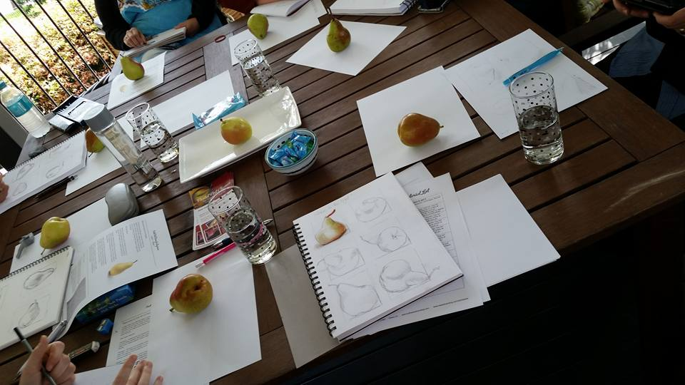 Painting pears with pastels