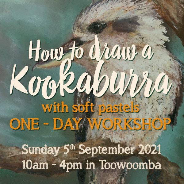 Learn to draw a Kookaburra with Soft Pastels. One day workshop 10am - 4pm