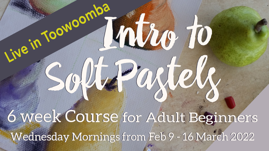 Join me on Wednesday mornings from 9th February to 16th March 2022 for the Intro to Soft Pastels for Adult Beginners at my studio in Toowoomba. Limit of 10 people.